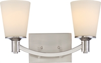 Picture for category Nuvo 60/5822 Laguna Wall Lantern 16in Brushed Nickel Glass White Glass 2-light