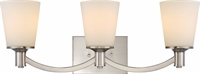 Picture for category Nuvo 60/5823 Laguna Wall Lantern 24in Natural Brass Glass White Glass 3-light