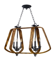 Picture for category Maxim 20927BWIO Road House Island Lighting 36in Barn Wood Iron Ore 6-light