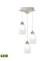 Picture for category Elk LCA203-10-16M Buro Pendants 9in Satin Nickel Metal Glass 3-light