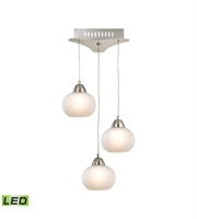 Picture for category Elk LCA403-10-16M Ciotola Pendants 10in Satin Nickel Metal Glass 3-light