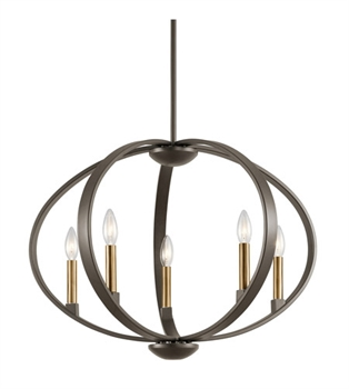 Picture of Kichler 43871OZ Elata Chandeliers 27in Olde Bronze Steel 5-light