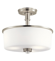 Picture for category Kichler 43926NI Joelson Semi Flush 14in Brushed Nickel Steel 3-light