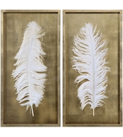 Picture for category Uttermost 04057 White Feathers Decor 17in Gold Pine
