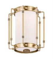Picture for category Hudson Valley 9709-AGB Hyde park Flush Mounts Aged Brass Metal Glass 1-light