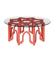 Picture for category Guild Master 714083 Marrakesh Tables 40in Red Glass Mahogany