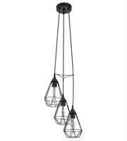 Picture for category Eglo 94191A Tarbes Pendants 12in Matte Black 3-light