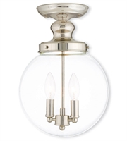 Picture for category Flush Mounts 2 Light With Hand Crafted Clear Glass Polished Nickel size 10 in 120 Watts - World of Crystal