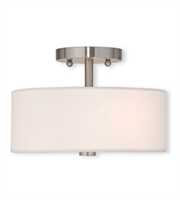Picture for category Flush Mounts 2 Light Brighton With Hand Crafted Off-White Fabric Hardback Shade Brushed Nickel size 11 in 80 Watts - World of Crystal