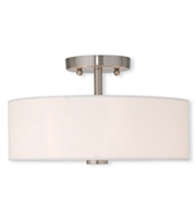 Picture for category Flush Mounts 2 Light With Off-white Fabric Hardback Shade Metal Brushed Nickel size 13 in - World of Crystal