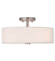 Picture for category Flush Mounts 3 Light With Brushed Nickel Medium Base 15 inch 180 Watts - World of Crystal