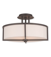 Picture for category Flush Mounts 3 Light With Hand Crafted Off-white Fabric Hardback Shade Bronze size 16 in - World of Crystal