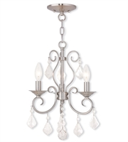 Picture for category Mini Chandeliers 3 Light With Clear Crystals Brushed Nickel Finish size 12 in 180 Watts - World of Crystal