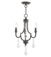 Picture for category Mini Chandeliers 3 Light With Steel Drum Bronze Tones size 14 in 180 Watts - World of Crystal