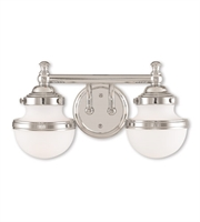 Picture for category Bathroom Vanity 2 Light With Hand Blown Satin Opal White Polished Chrome size 15 in - World of Crystal