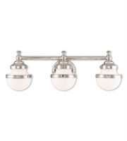 Picture for category Bathroom Vanity 3 Light With Satin Opal White Steel Polished Chrome size 24 in - World of Crystal