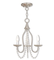 Picture for category Mini Chandeliers 3 Light With Steel Drum Brushed Nickel size 13 in 180 Watts - World of Crystal