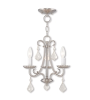 Picture for category Mini Chandeliers 3 Light Daphne With Steel Drum Brushed Nickel size 14 in 180 Watts - World of Crystal