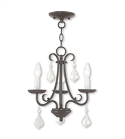 Picture for category Mini Chandeliers 3 Light With Steel English Bronze Finish size 14 in 180 Watts - World of Crystal