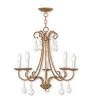 Picture for category Chandeliers 5 Light With Steel Drum Antique Gold Leaf size 25 in 360 Watts - World of Crystal