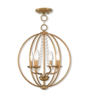 Picture for category Mini Chandeliers 4 Light With Steel Antique Gold Leaf size 15 in 240 Watts - World of Crystal