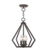 Picture for category Mini Chandeliers 3 Light With Steel Drum Bronze size 14 in 120 Watts - World of Crystal