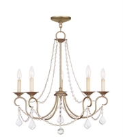Picture for category Chandeliers 5 Light With Hand Painted Antique Silver Leaf size 25 in 300 Watts - World of Crystal