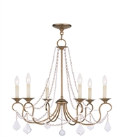 Picture for category Chandeliers 6 Light With Clear Crystals Antique Gold Leaf size 28 in 360 Watts - World of Crystal