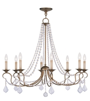 Picture for category Chandeliers 8 Light With Clear Crystals Antique Gold Leaf size 34 in 480 Watts - World of Crystal
