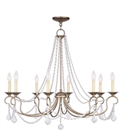 Picture for category Chandeliers 8 Light With Antique Silver Leaf Steel Drum size 34 in - World of Crystal