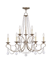 Picture for category Chandeliers 9 Light With Hand Painted Antique Silver Leaf size 28 in 360 Watts - World of Crystal