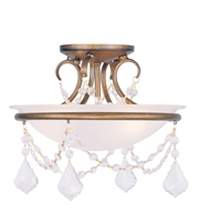 Picture for category Semi Flush Mounts 2 Light With White Alabaster Glass Antique Gold Leaf size 12 in 120 Watts - World of Crystal