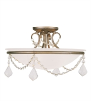 Picture for category Semi Flush Mounts 3 Light With White Alabaster Glass Hand Painted Antique Silver Leaf size 16 in 225 Watts - World of Crystal