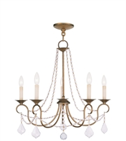 Picture for category Chandeliers 5 Light With Antique Gold Leaf Finish size 25 in 300 Watts - World of Crystal