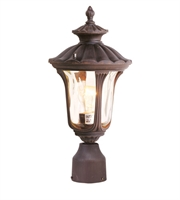 Picture for category Outdoor Post 1 Light With Hand Blown Light Amber Water Glass Imperial Bronze size 16 in 100 Watts - World of Crystal