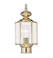 Picture for category Outdoor Post 1 Light With Clear Beveled Glass Polished Brass size 7 in 100 Watts - World of Crystal