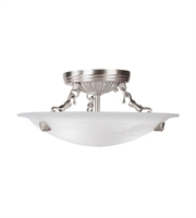 Picture for category Semi Flush Mounts 3 Light Coronado With White Alabaster Glass Brushed Nickel size 12 in 180 Watts - World of Crystal