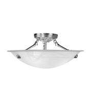 Picture for category Semi Flush Mounts 3 Light With White Alabaster Steel Brushed Nickel size 16 in - World of Crystal