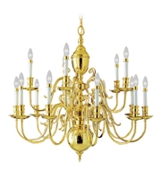 Picture for category Chandeliers 15 Light Wakefield With Polished Brass Finish size 36 in 400 Watts - World of Crystal