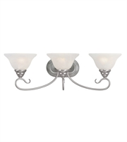Picture for category Bathroom Vanity 3 Light With White Alabaster Glass Brushed Nickel size 27 in 300 Watts - World of Crystal