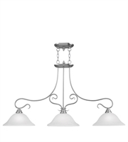 Picture for category Island 3 Light With White Alabaster Glass Brushed Nickel size 13 in 300 Watts - World of Crystal