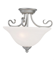 Picture for category Semi Flush Mounts 2 Light With White Alabaster Glass Brushed Nickel size 16 in 200 Watts - World of Crystal
