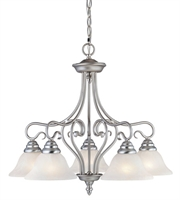 Picture for category Chandeliers 5 Ligth With White Alabaster Glass Brushed Nickel size 25.5 in 500 Watts - World of Crystal