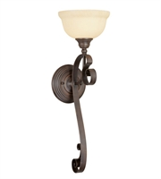 Picture for category Wall Sconces 1 Light With Vintage Scavo Glass Imperial Bronze size 8 in 100 Watts - World of Crystal