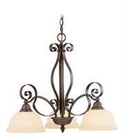 Picture for category Chandeliers 3 Light With Vintage Scavo Glass Imperial Bronze size 25 in 300 Watts - World of Crystal