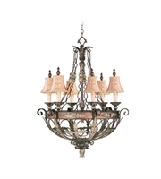 Picture for category Chandeliers 6 Light With Palacial Bronze Gilded Accents Hand Embroidered Shades & Decorative Finials 30 inches 360 Watts - World of Crystal