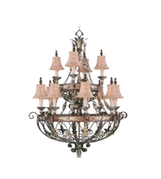 Picture for category Chandeliers 12 Light With Palacial Bronze Gilded Accents Hand Embroidered Shades & Decorative Finials 38 inches 720 Watts - World of Crystal