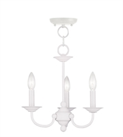 Picture for category Mini Chandeliers 3 Light With White Finish size 14 in 180 Watts - World of Crystal
