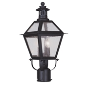 Picture for category Outdoor Post 2 Light With Seeded Glass Bronze size 19 in 120 Watts - World of Crystal
