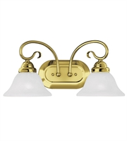 Picture for category Bathroom Vanity 2 Light With White Alabaster Glass Polished Brass size 19 in 200 Watts - World of Crystal
